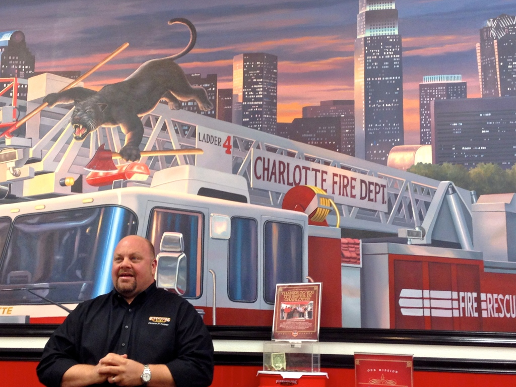 firehouse subs menu robin sorenson owner with uptown charlotte location mural